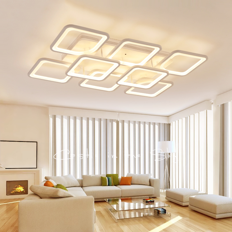 Rectangle Modern led Ceiling Lights For Living Room Bedroom Square white Finish Ceiling Lamp Fixtures 110V 220V шарф luhta luhta lu692gmmzk82