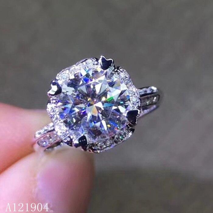 KJJEAXCMY boutique bijoux 925 en argent sterling incrusté naturel Mosang diamant bijou femelle anneau support test