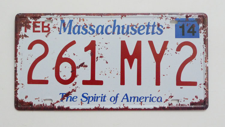 1 pc Massachusetts tin sign plate US American car license plaques man cave garage sign in Plaques Signs from Home Garden