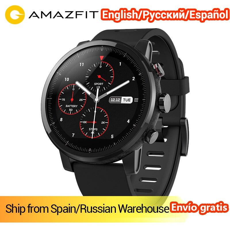 $10.00 Coupon Inglés versión xiaomi huami amazfit Reloj 2 STRATO reloj deportivo inteligente bluetooth GPS 11 tipo modo 5ATM impermeable reloj