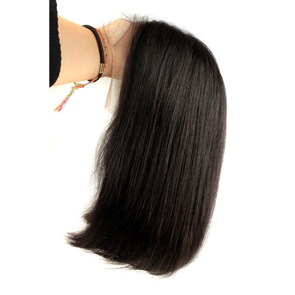 Beeos Straight Short Bob Wig 150 Brazilian Remy Hair 13 4 Lace Front Human Hair Wigs