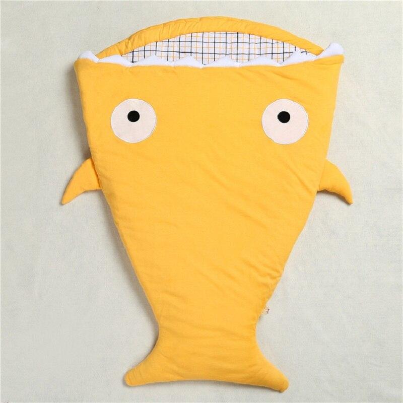 Теплый спальный мешок Мягкий хлопок теплый плед зима сладкий мультфильм Акула младенцев новорожденных детские спальники 7 цветов - Цвет: Цвет: желтый
