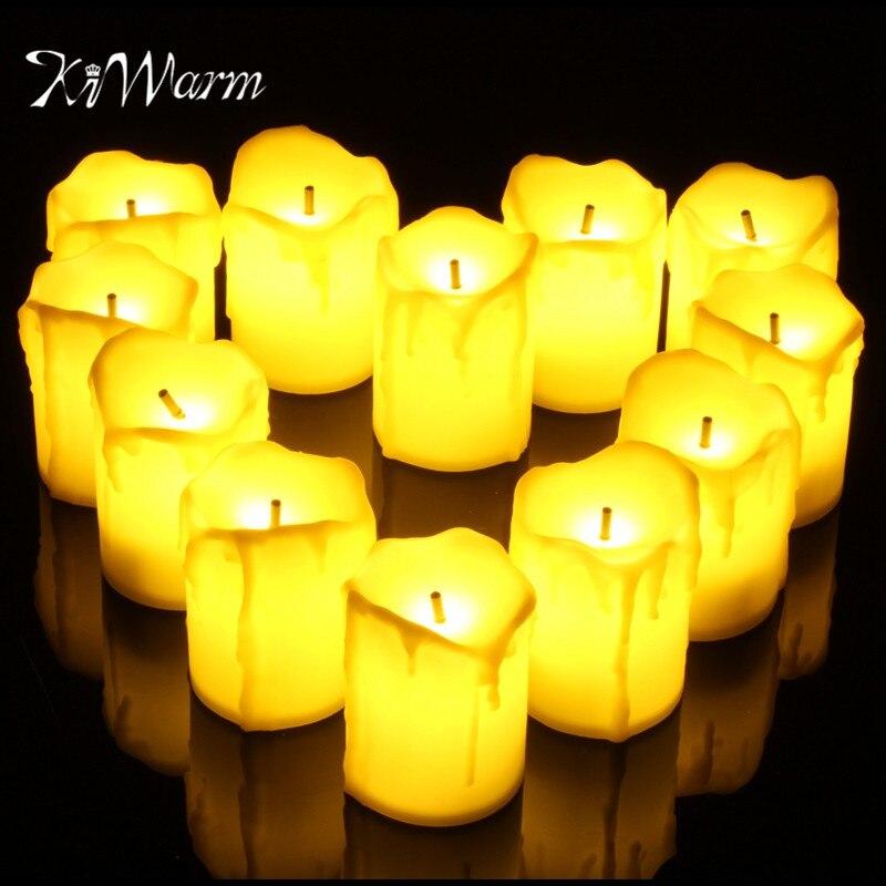 KiWarm Neueste 12 Teile/satz Tränen LED Teelicht Teelicht Flammenlose Flackernde Batteriebetrieb Für Decor