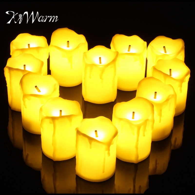 KiWarm Newest 12Pcs/set Tears LED Tea Light Candle Tealight Flameless Flickering Battery Operated For Home Wedding Party Decor