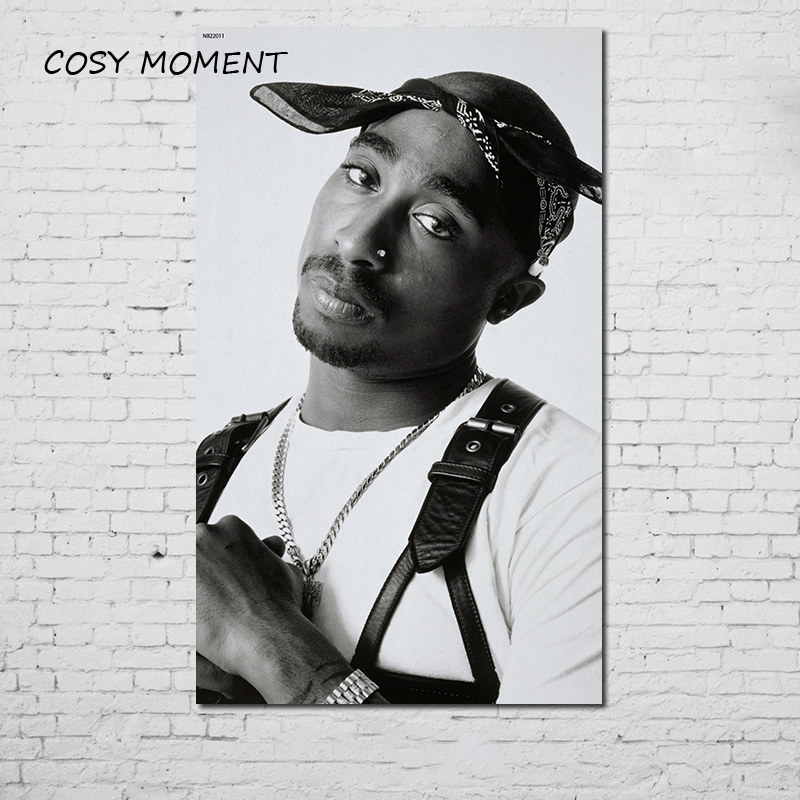 COSY MOMENT Tupac Poster Hiphop Rap Music Singer Star 2PAC HD Printing Black And