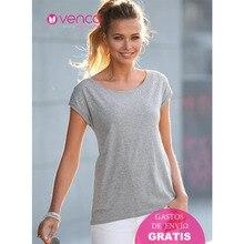 db0cb4d0b1b Venca Manga Corta con Vuelta Camiseta Mujer Aplicaciones Pequeñas Metálicas  Regalo Mamá Posicionales en Superior Escote