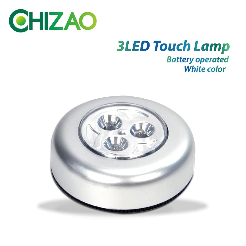Chizao Mini 3 Led Touch Tap Stick On Night Light Wirelsess