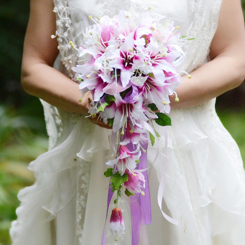 Cascade Bouquet Silk Wedding Flower: White Purple Cascading Bridal Bouquets De Mariage Roses