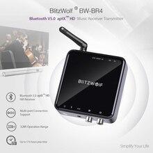 Blitzwolf transmissor sem fio bluetooth v5.0, receptor aux 3.5mm, adaptador de música de áudio para tv, smartphone, pc, computador, alto falantes de carro