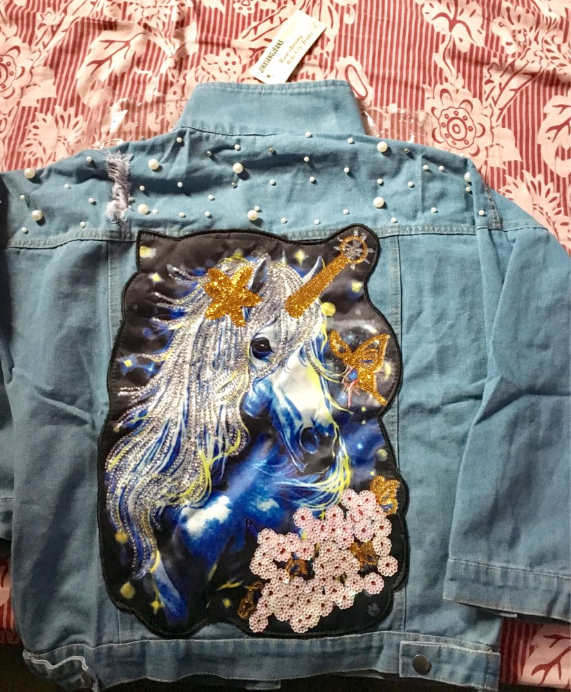 Pearl Dotted Unicorn Denim Jacket photo review