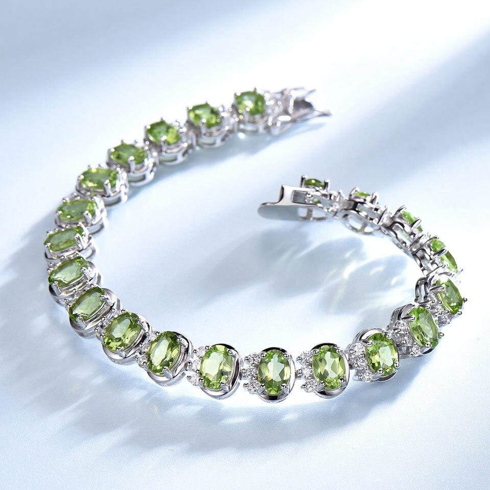 Image 3 - UMCHO Luxury 18.9ct Natural Peridot Bracelets For Women 925  Sterling Silver Chain Link bracelet Wedding Gemstone Fine  JewelryBracelets