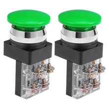 UXCELL 2Pcs 30mm Switches Mounting Hole Momentary Push Button Switch Green DPST Mushroom Head Accessories Supplies