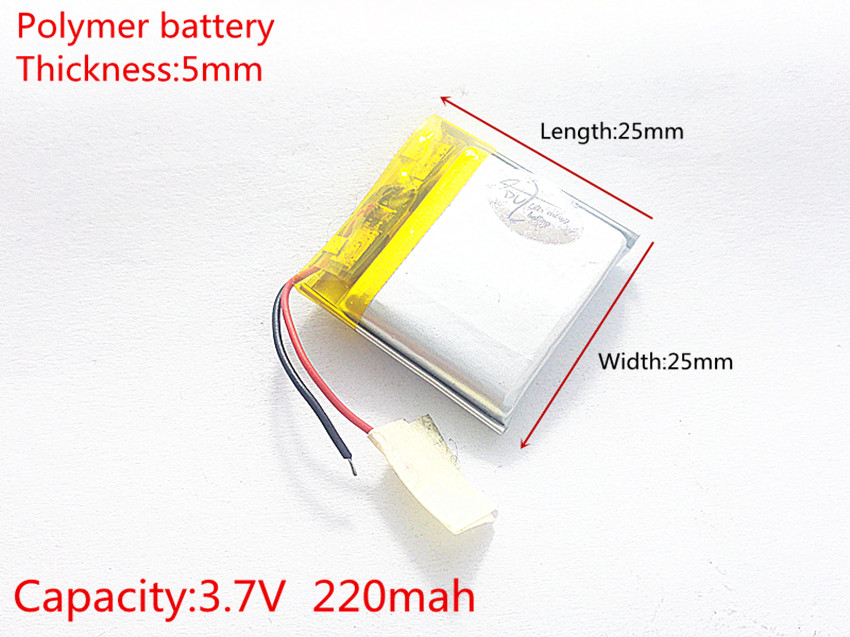 3.7V 220mAh [<font><b>502525</b></font>] Polymer lithium ion / Li-ion battery for mp3;mp4;smart watch;speaker;POWER BANK; image