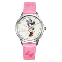 Disney Brand Original Cartoon Mickey Mouse Children Girls Watch Leather Quartz Students Waterproof Clocks Blue Pink
