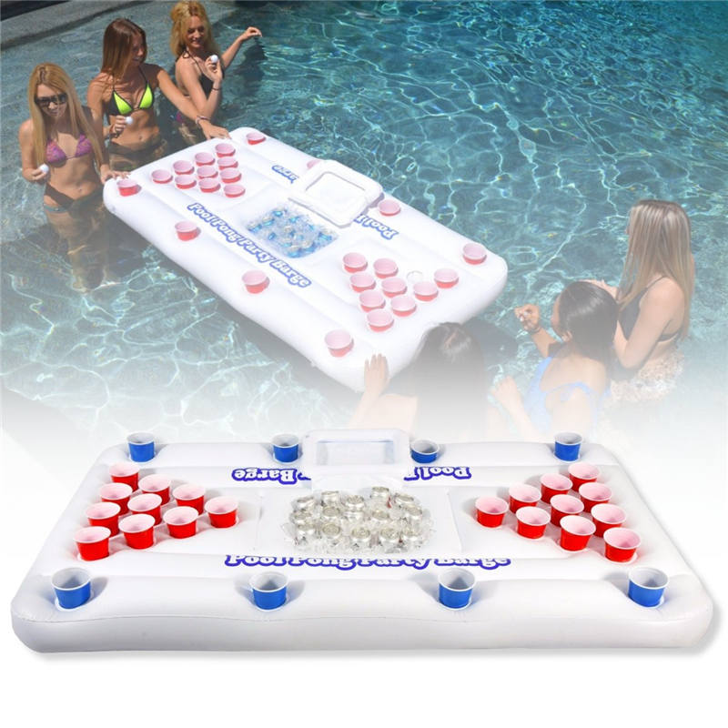 2017 New 170cm 28 Cup Holder Inflatable Beer Pong Table Pool Float Summer Water Party Fun Air Mattress Ice Bucket Cooler commercial sea inflatable blue water slide with pool and arch for kids