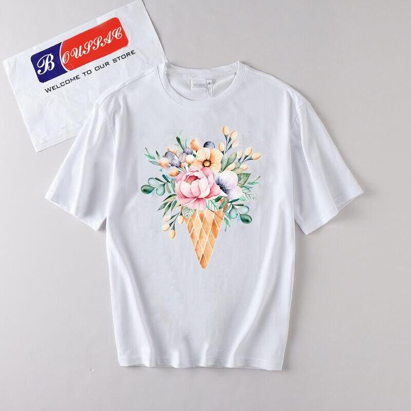 Korean Style Flowers Print TShirt women Summer Harajuku Top Quality Cute Tops Tee Casual Streetwear Floral Poleras mujer Kawaii