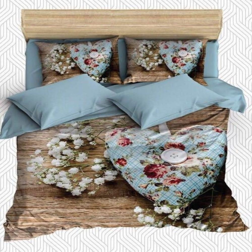Else 6 Piece Brown Wooden White Floral Red Flowers 3D Print Cotton Satin Double Duvet Cover Bedding Set Pillow Case Bed Sheet|Duvet Cover| |  - title=
