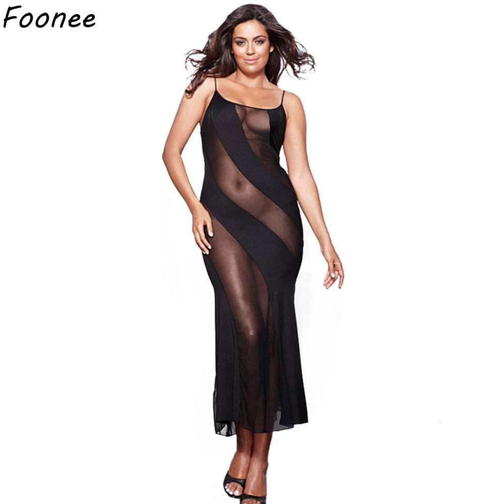 Sexy Mesh Long Dress Black Spaghetti Strap Transparent Dress Evening Nightgown nightie sleepwear lingerie women 5XL 6XL