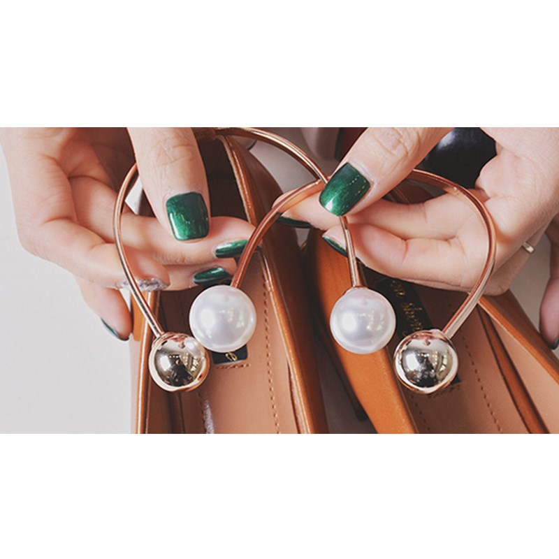 1 PCS Metal Pearls Shoes Accessory, Women Double Beads U Shape Ankle Decoration, Elegant Lady Olivet Metal Hoop Shoe Accessories