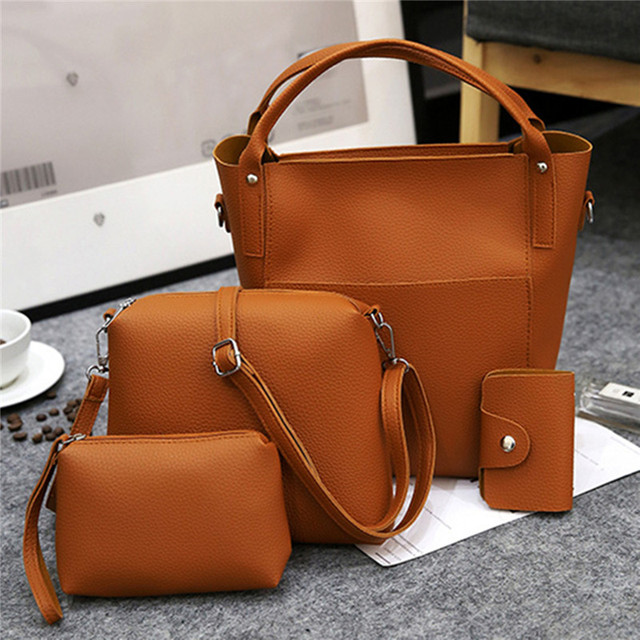 17615fd9d31f 4PCS Bag Set Women Shoulder Messenger Bags Vintage Handbags Top-handle Leather  Crossbody Bags 4