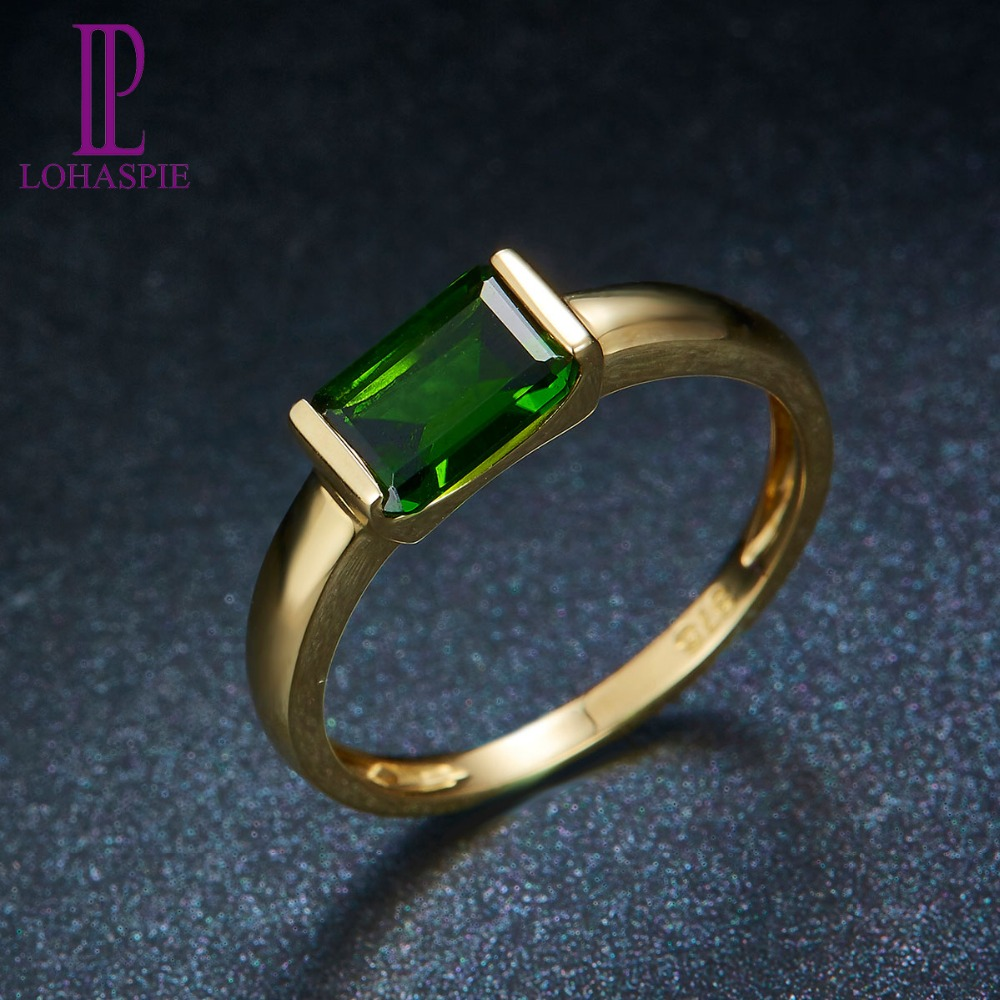 LP Russia Emerald Natural Gemstone Chrome Diopside 1.05Carats Engagement Ring Real 9K 10K 14K 18K Gold FineJewelry For Women