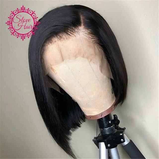 Pelucas de pelo humano frontal de encaje para mujeres negro brasileño Remy cabello humano corto recto Bob peluca nudos blanqueados fin resolver