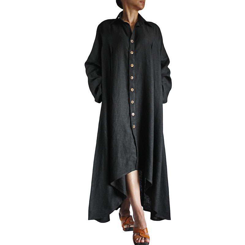 Plus Size Vintage Women Lapel Neck Long Sleeve Asymmetrical Solid Pockets Buttons Cotton Linen Baggy Long Shirt Dress Vestido