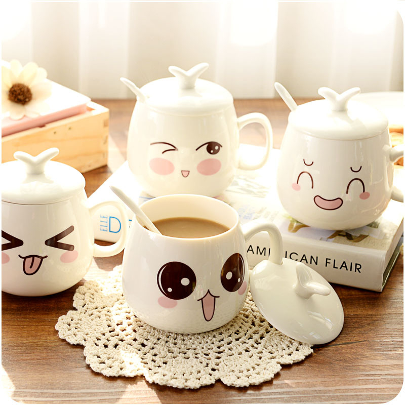 A208 Creative Ceramic Mug Couple Cup Glass Cup With Lid Personality Meng Department Of Expression Cups