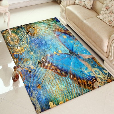 Else Big Blue Butterfly Vintage Yellow Floor 3d Print Non Slip Microfiber Living Room Decorative Modern Washable Area Rug Mat