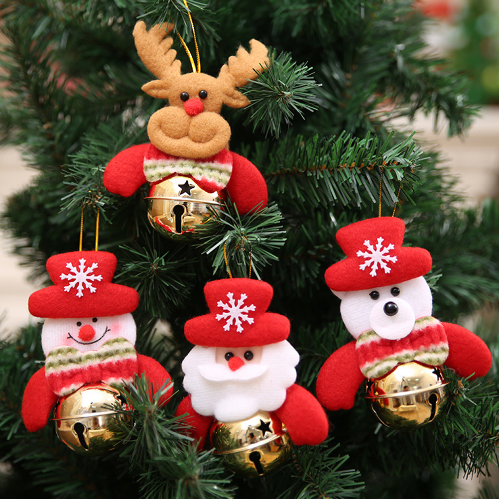 4 pcs xmas bells decorations santa claus snowman elk bear hanging ornaments for christmas tree fence house party supplies in pendant drop ornaments from