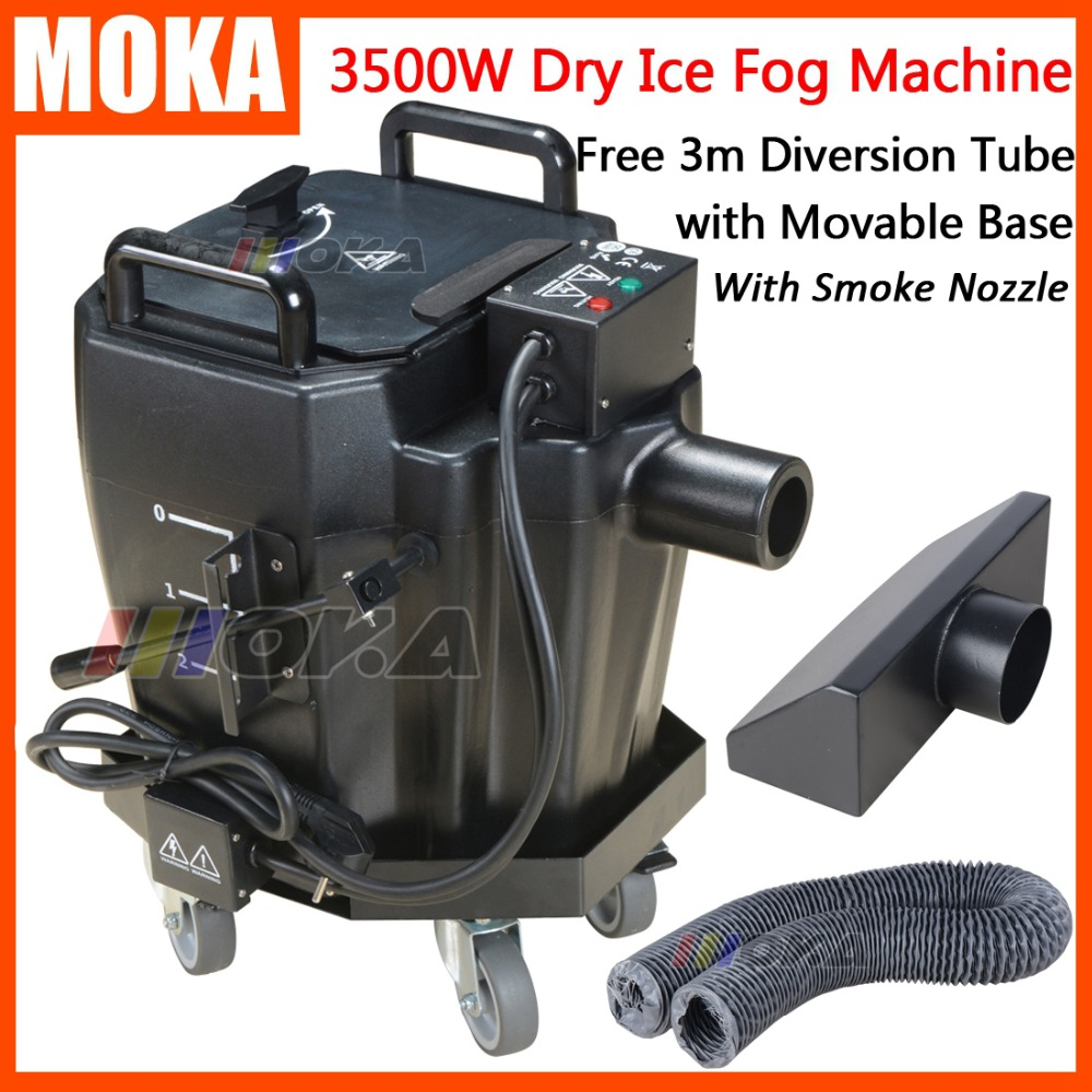 Professional stage effects 3500W dry ice machine With smoke nozzle hose and movable card low ground fog machine For Wedding huppa манишка вязаная cora темно синяя