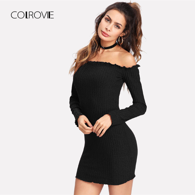 e136c15d51ae6 COLROVIE Black Off the Shoulder Frill Girl Knit Sexy Dress Women ...