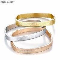Rose Gold Women wedding braccialetti lettera quadrato In Acciaio Inox Pulseira femme braccialetti di fascino per valentitines regali di giorno BD0024