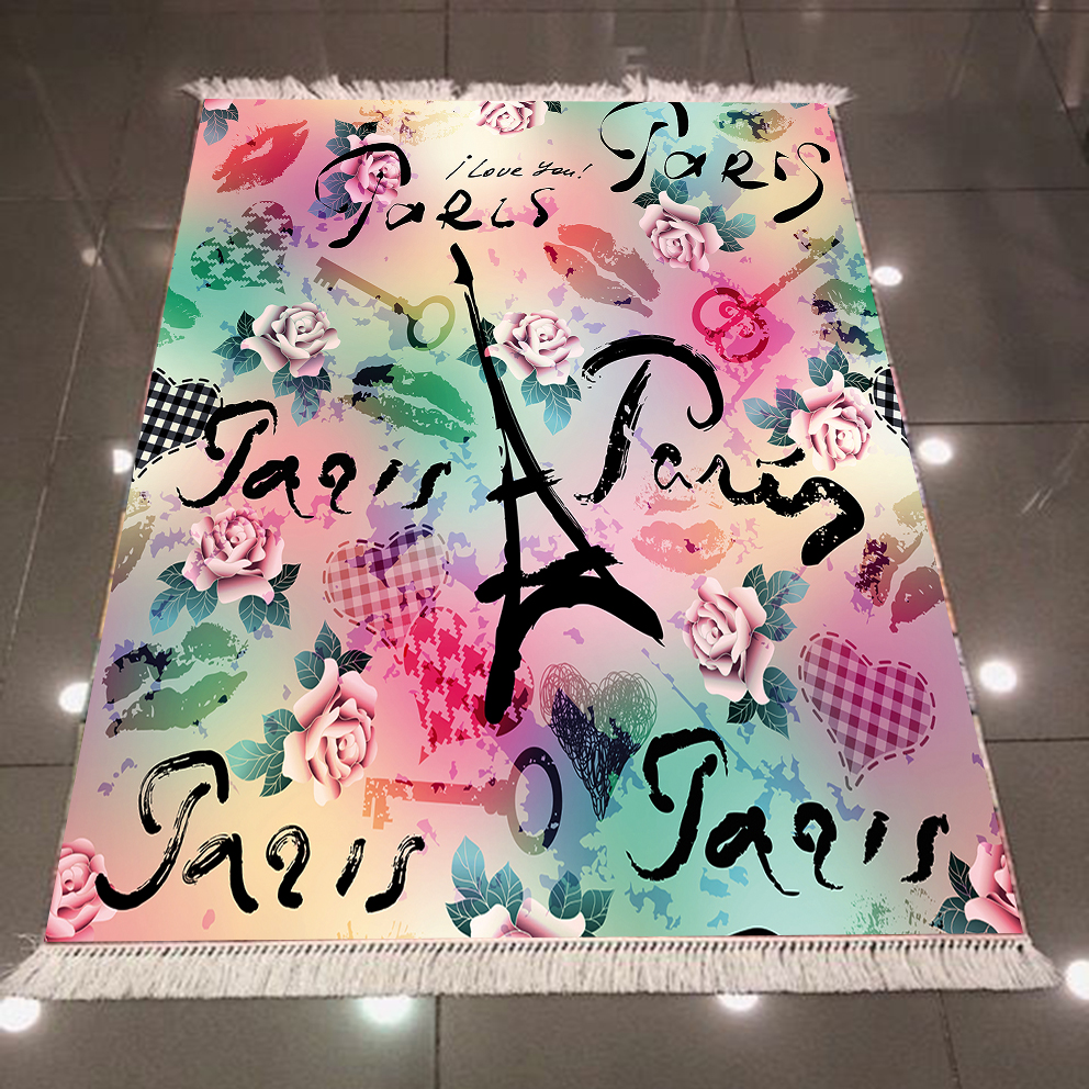 Else Eiffel Tower Paris Writen Green Pink Yellow Roses 3d Microfiber Anti Slip Back Washable Decorative Kilim Area Rug Carpet