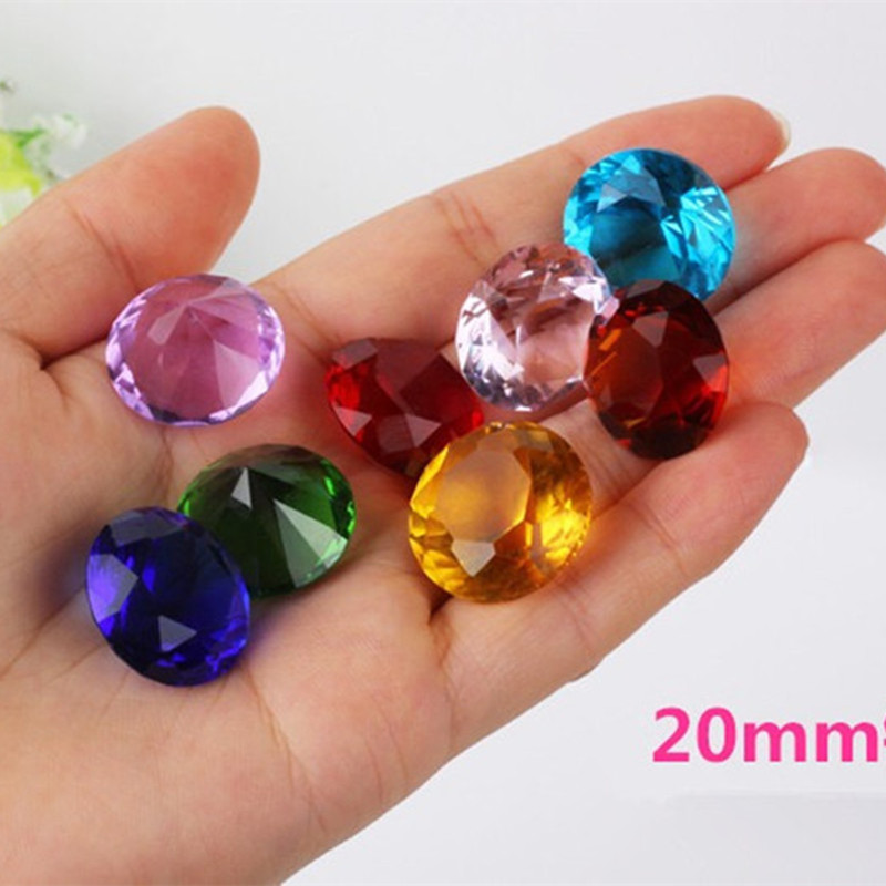 20MM 1pcs Dimeter Crystal Diamond Rainbow Glass Beads Feng Shui Sphere Crystals Decorative Craft Gift Wedding Home Vase Decor