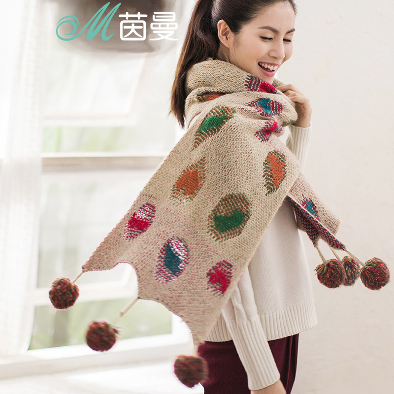 INMAN Autumn And Winter New Arrival Super Long Wool Warm Knitting Hairball Scarf
