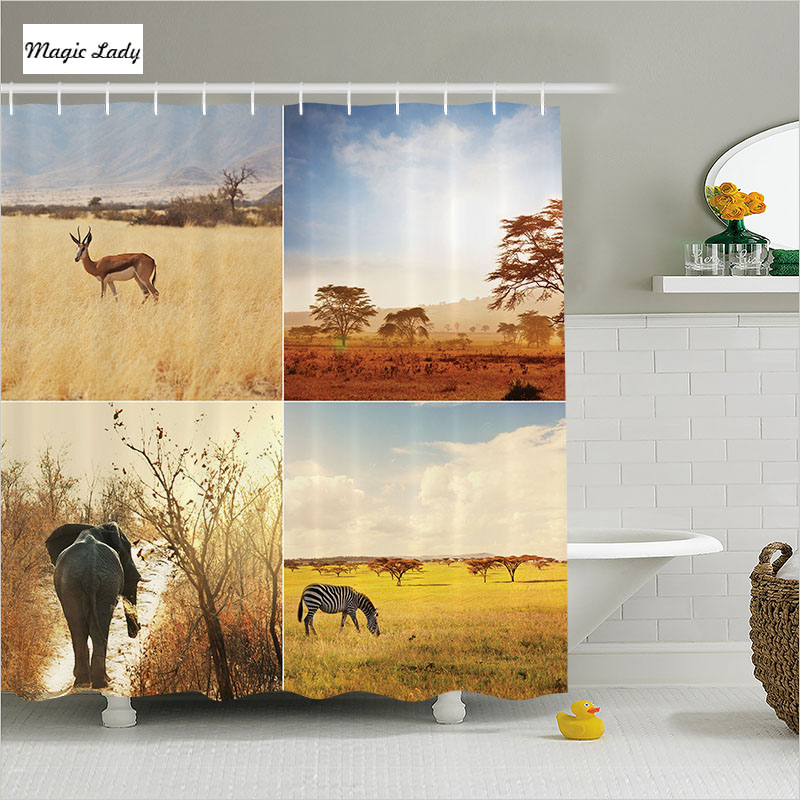 Shower curtain african bathroom accessories safari stag for African bathroom decor