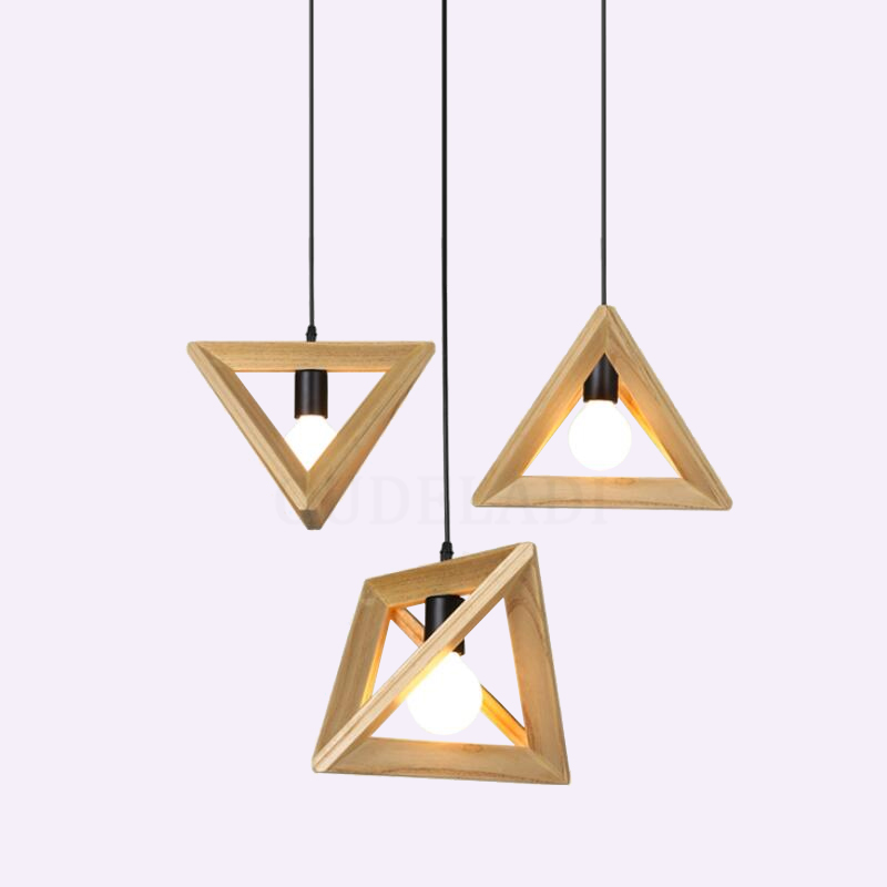 Solid Wood pendant Lamp Triangle Modern Pendant Lights for Dining Kitchen Living Room Office Home Decor Loft hanging lamp
