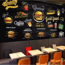 Hand-painted chalkboard western pizza hamburger background wall custom large indoor wallpaper mural 3D photo
