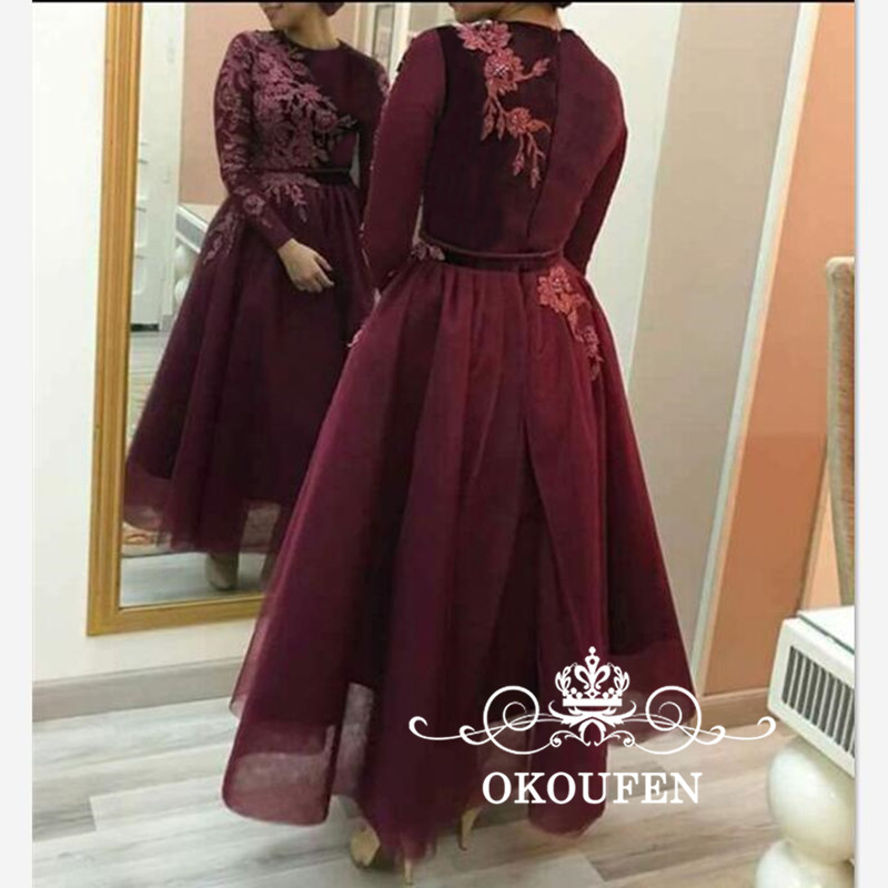 Burgundy Tulle A Line Mother Of Bride Dresses With Long Sleeves 2018 Abaya Arabic Women Lace Appliques Ankle Length Prom Dress