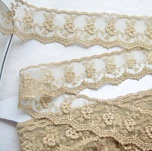 Image 2 - 3 Meters Champagne Gold Thread  Flower Net Dress Lace Trim Embroidery Lace Accessories 4.5cm Width Free Shipping