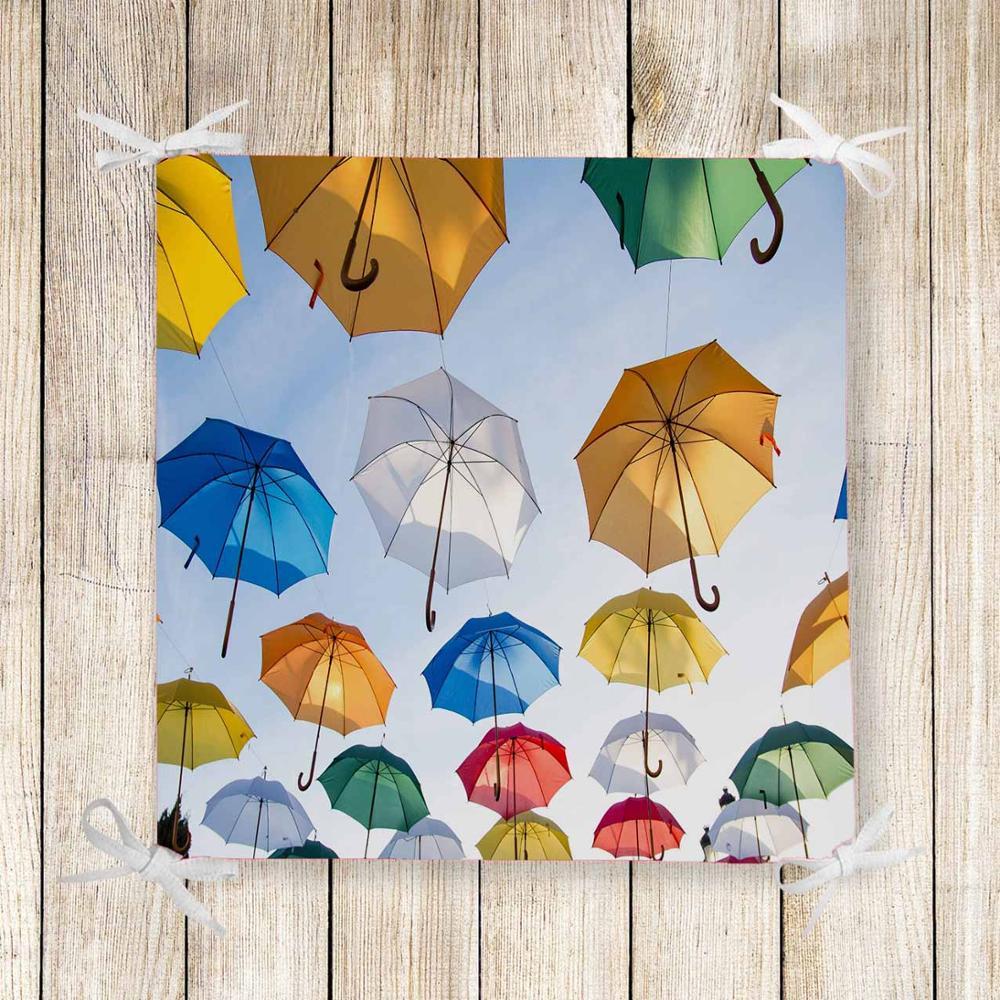 Else Blue Sky White Yellow Umbrellas 3d Print Chair Pad Seat Cushion Soft Memory Foam Full Lenght Ties Non Slip Washable Zipper