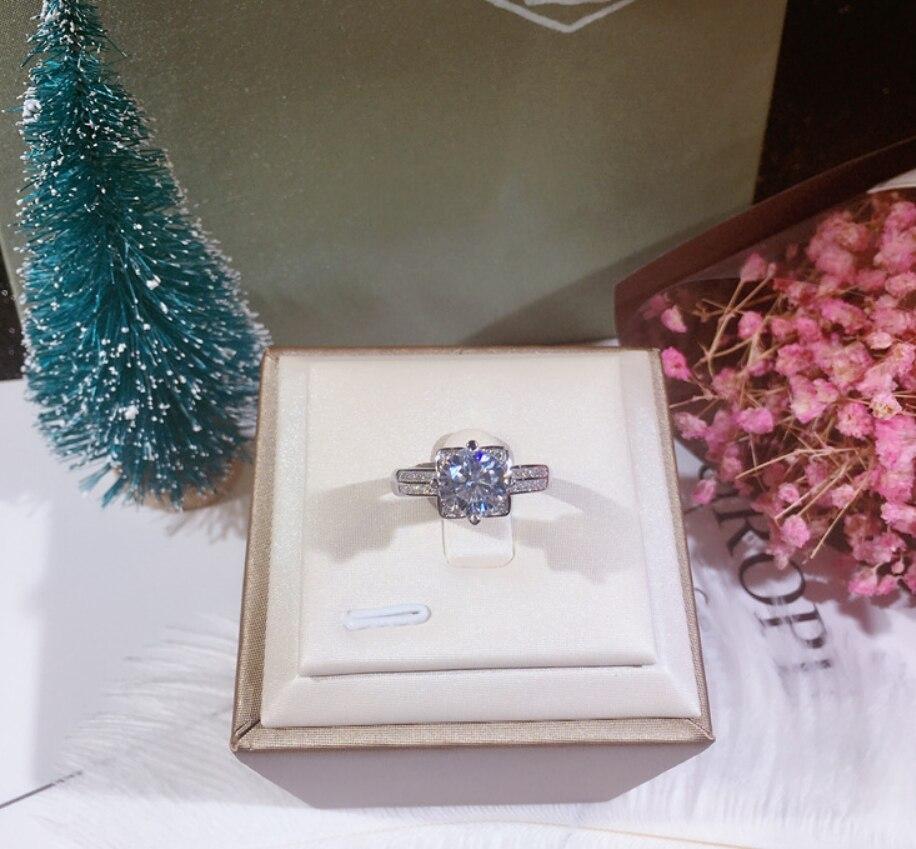 Vente chaude 100% solide 925 argent femmes cadeau bijoux fiançailles anneaux de mariage fleur de Lotus 1.5ct Diamant CZ niveau pierre anneau - 6