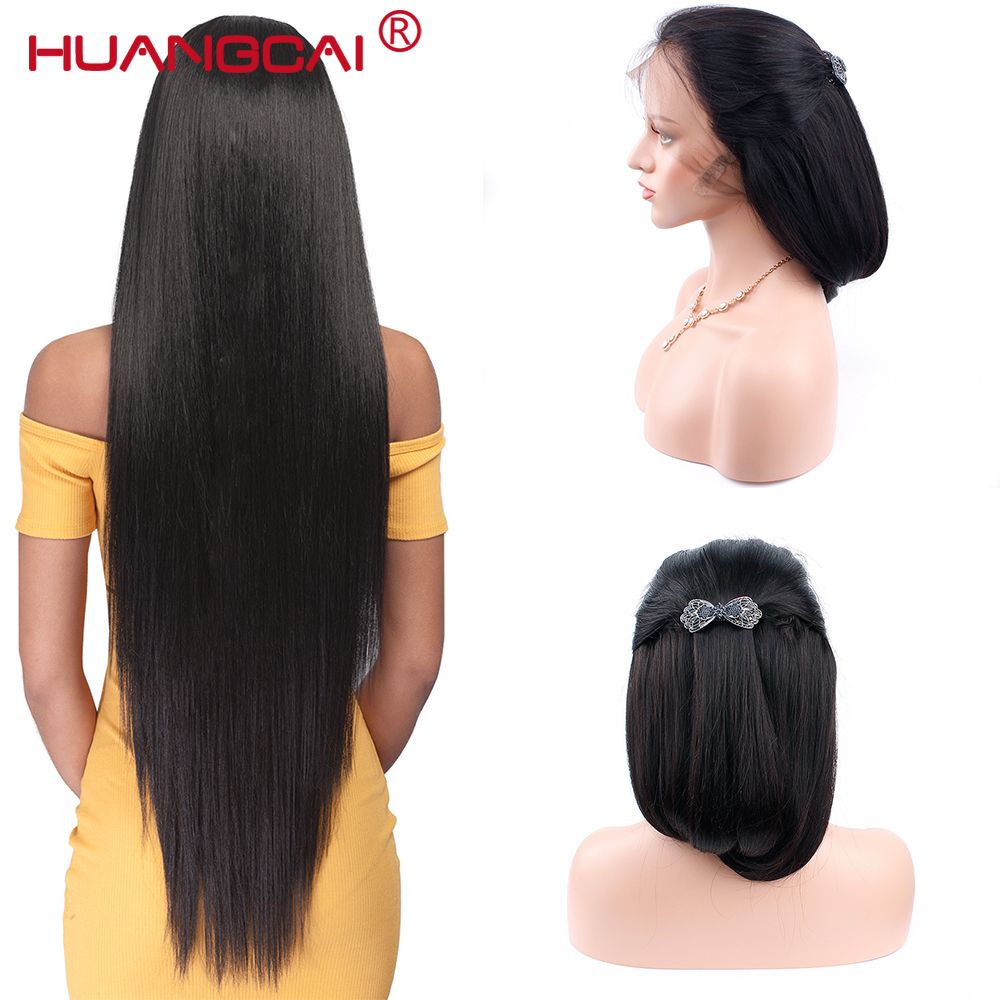 360 Lace frontal Wigs 150 Peruvian Straight Remy Human Hair Wigs With Baby Hair Natural Black