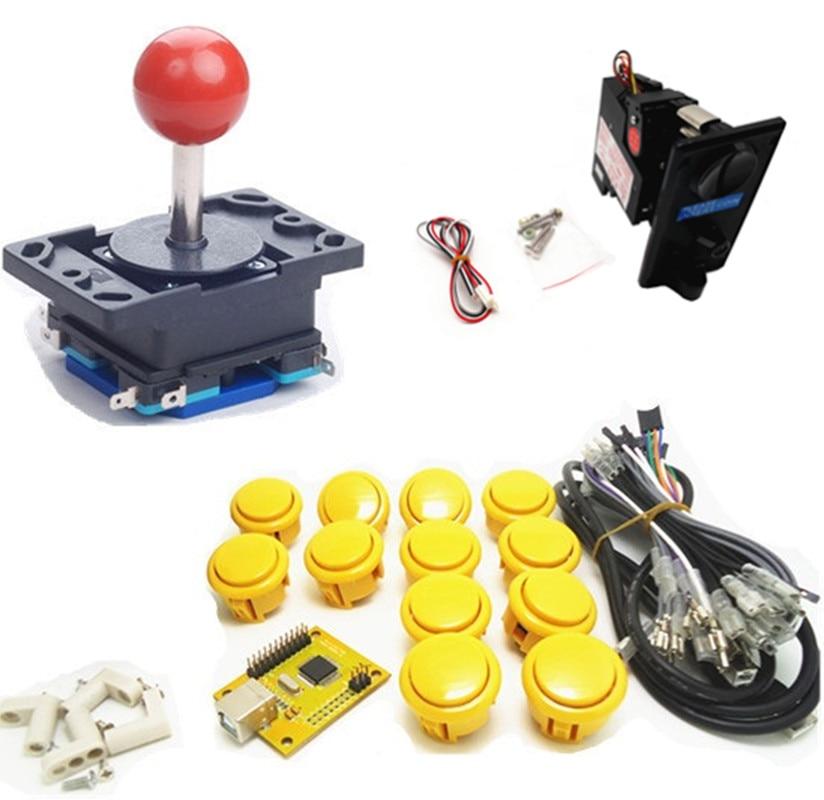 1 kit koin tunggal pemain tunggal PC / PS 3 pengendali joystick, USB ke game arcade Jamma, Arcade panel kontrol keyboard encoder