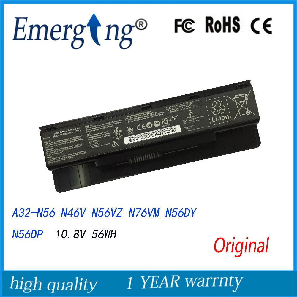 10.8V  56WH Original New Laptop Battery For ASUS N46 N56  N76 Calibrate A32-N56 N46V N56VZ N76VM N56DY N56DP