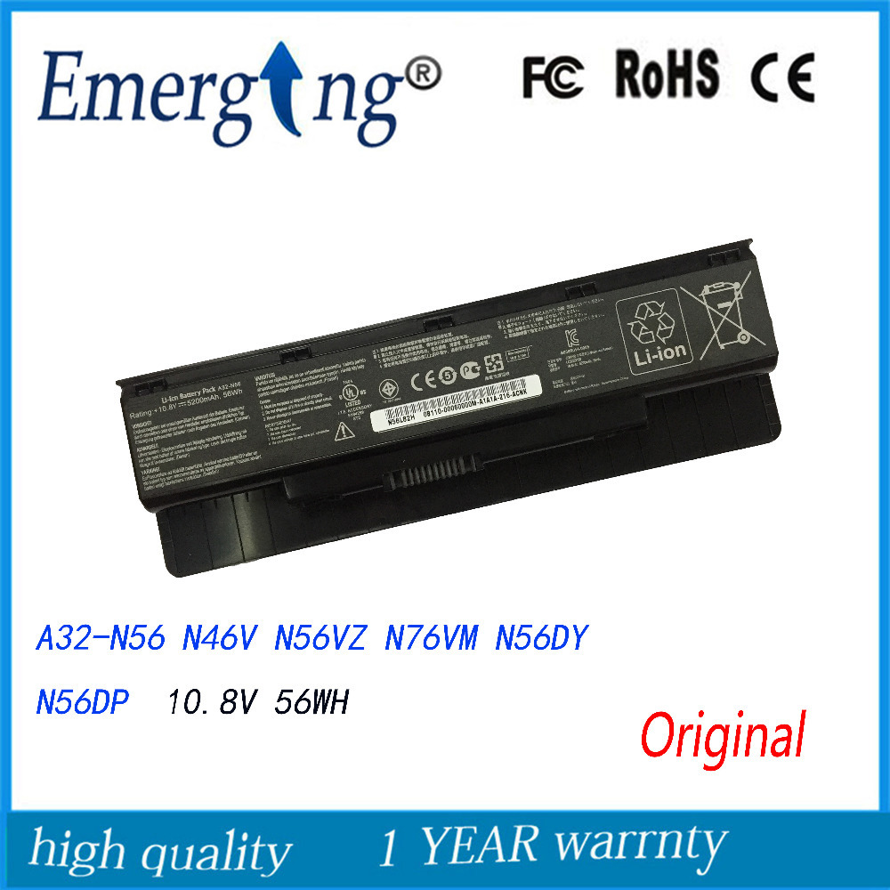 10.8V 56WH Original New Laptop <font><b>Battery</b></font> for <font><b>ASUS</b></font> N46 N56 N76 Calibrate A32-N56 <font><b>N46V</b></font> N56VZ N76VM N56DY N56DP image
