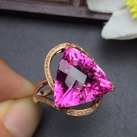 Fine Jewelry Real 18K Rose Gold AU750 Customized Size Natural Pink Topaz Gemstone Diamonds Female Anniversary Gift Fine Rings