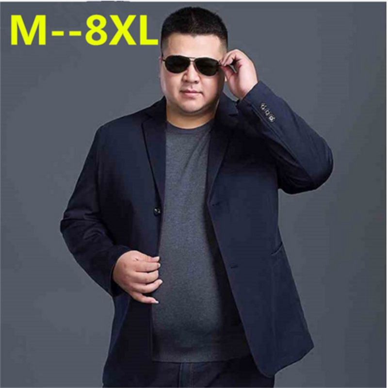 2018 New 8XL 7XL 6XL Fashion Blazer Mens Casual Jacket Solid Color Cotton Men Blazer Jacket Men Classic Mens Suit Jackets Coats