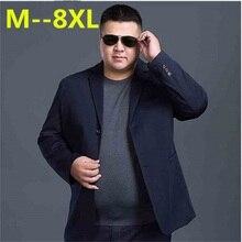 2018 new 8XL 7XL 6XL Fashion Blazer Mens Casual Jacket Solid Color Cotton Men